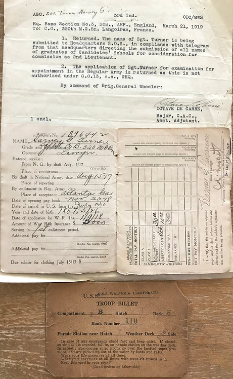 SGT Harvey Turner Company B 320th Machine Gun Battalion 82nd Division Documents