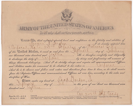 WWI Promotion Orders To Corporal Laverne Forgham HQ Company 327th INF 82nd DIV