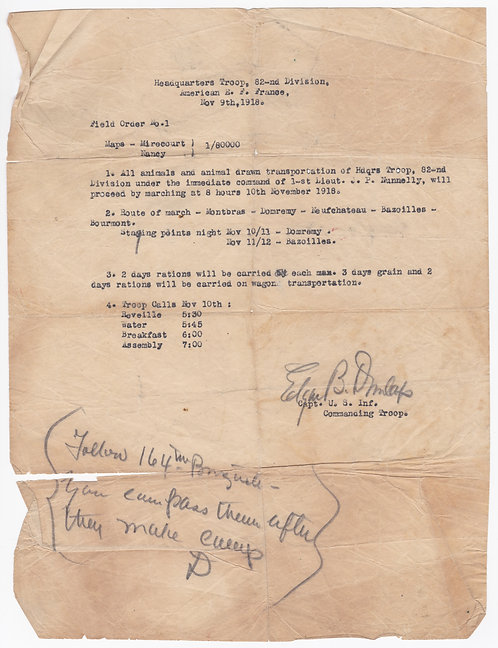 WWI Field Order # 1 HQ Company 82nd Division 9 Nov 1918
