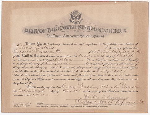 WWI Promotion Orders To Corporal Oliver Palmer Company M 325th INF 82nd DIV