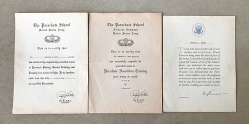 WWII 501st PIR Jump School & Parachute Demo School Document Group