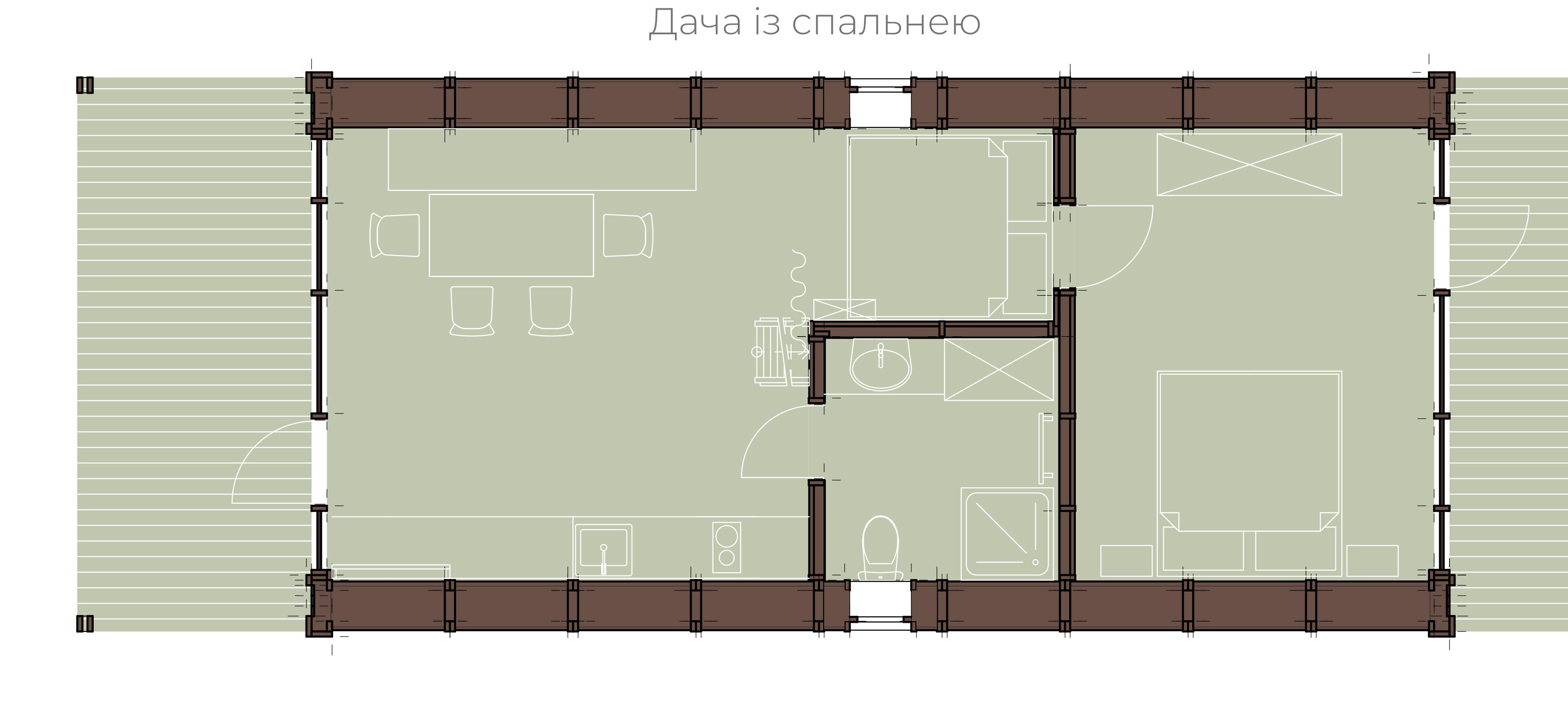 Колиба із спальнею