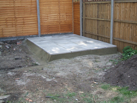 Shed base ade of slabs