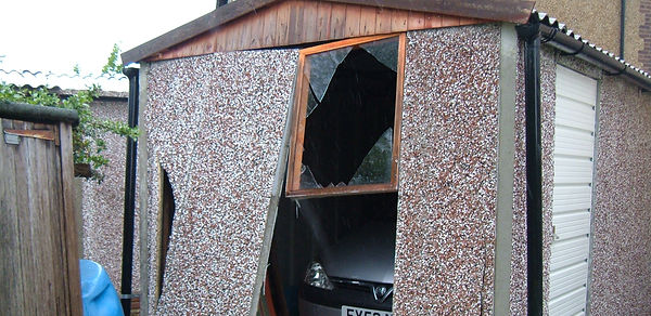 Broken garage panels
