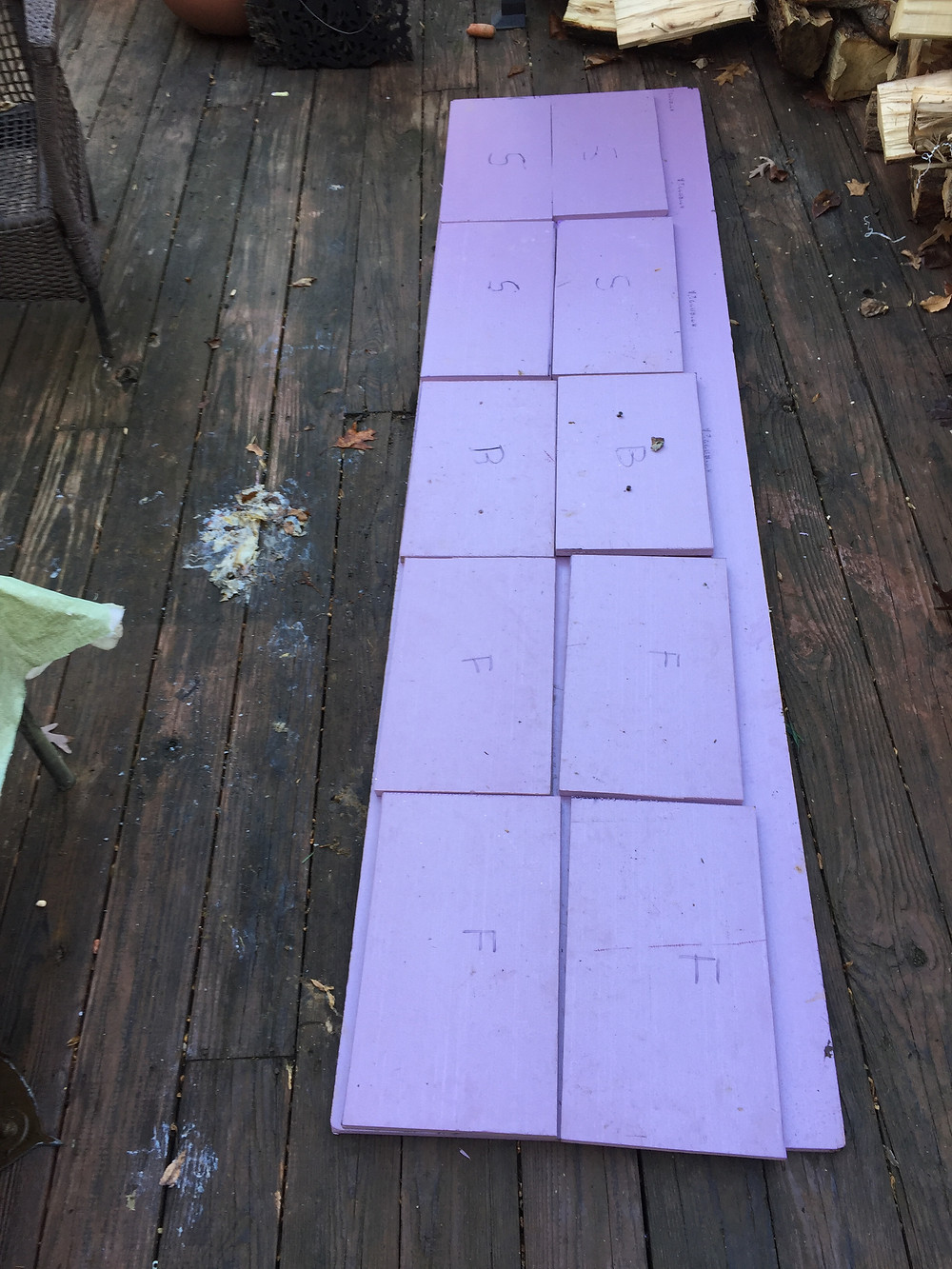 All my panels before gluing to the box.