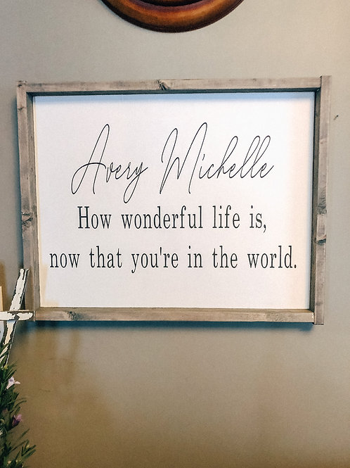 How wonderful life is - Personalized Name sign