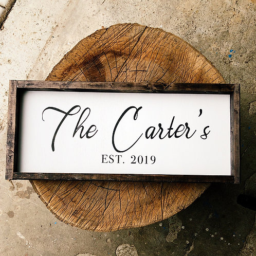 Custom last name wooden sign