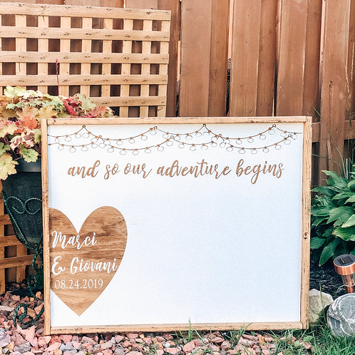 And So Our Adventure Begins - With custom names & date in heart