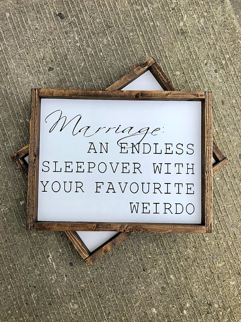 Marriage - funny wood sign