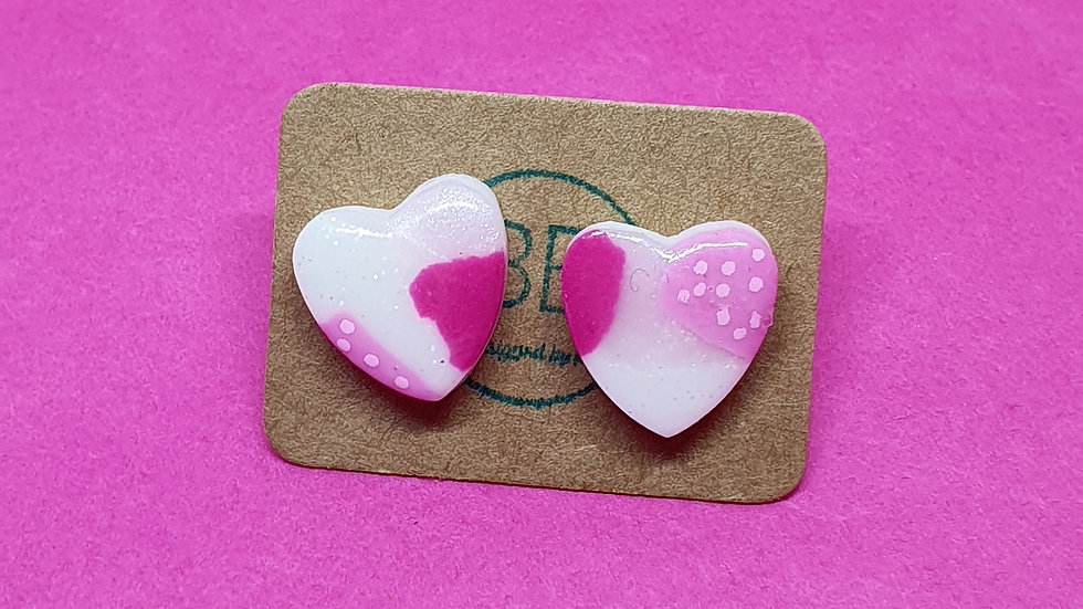 Patchwork Pink Small Heart Studs 2
