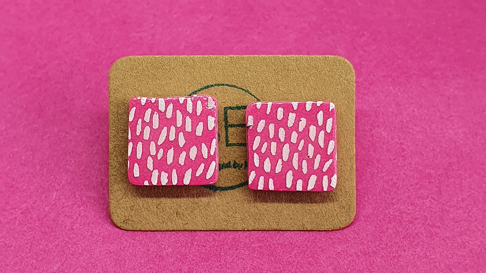 Pink Speckled Square Studs