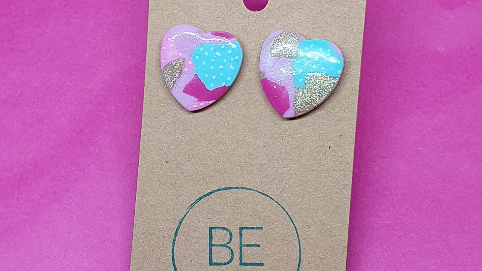 Patchwork Pink Large Heart Studs 1