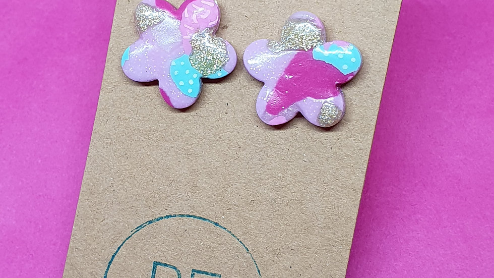 Patchwork Pink Daisy Studs 1