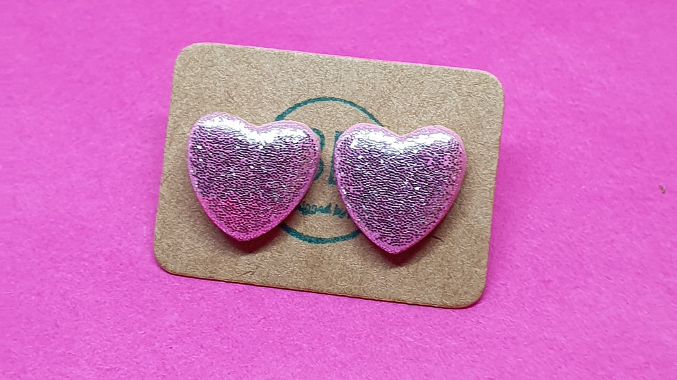 Sparkly Pink Heart Studs