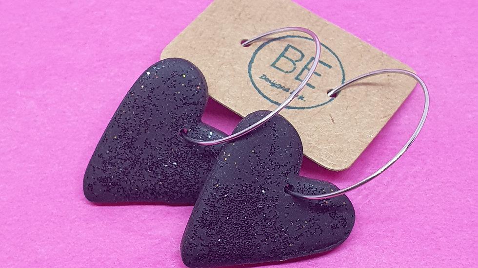 Black Sparkly Heart Dangles 2