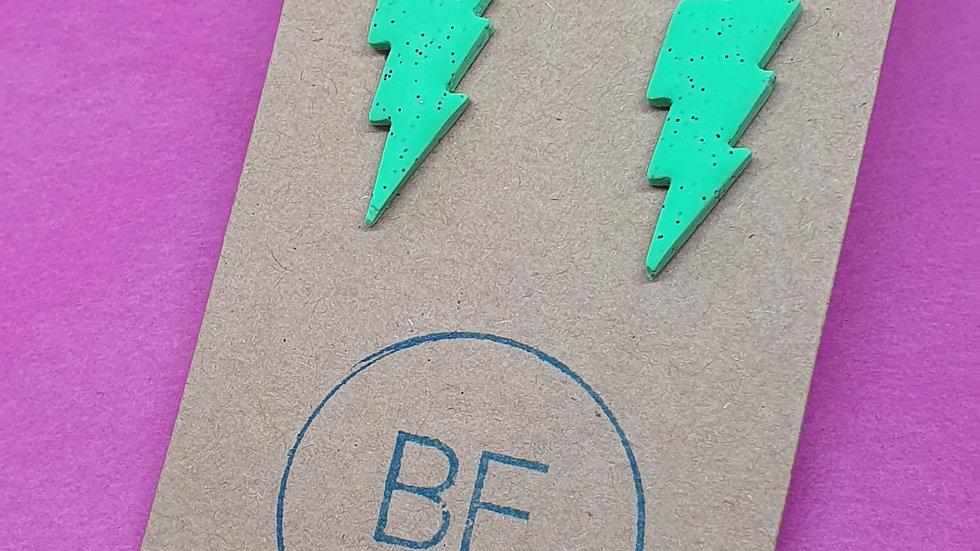 Neon Webs Green Bolt Studs