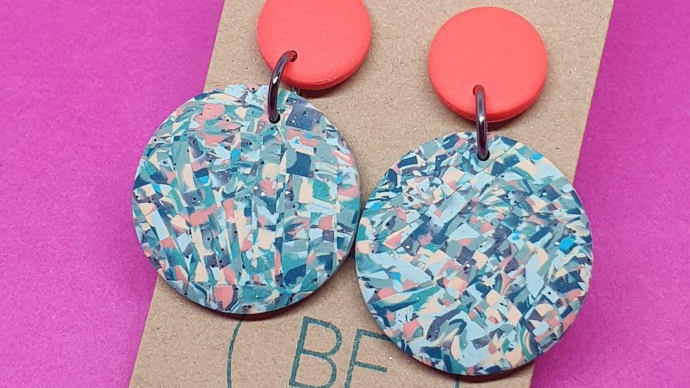 Orange Pixel Round Dangles 2