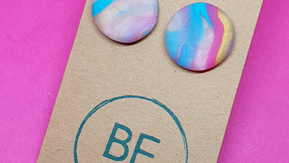 Marbled Rainbow Round Studs