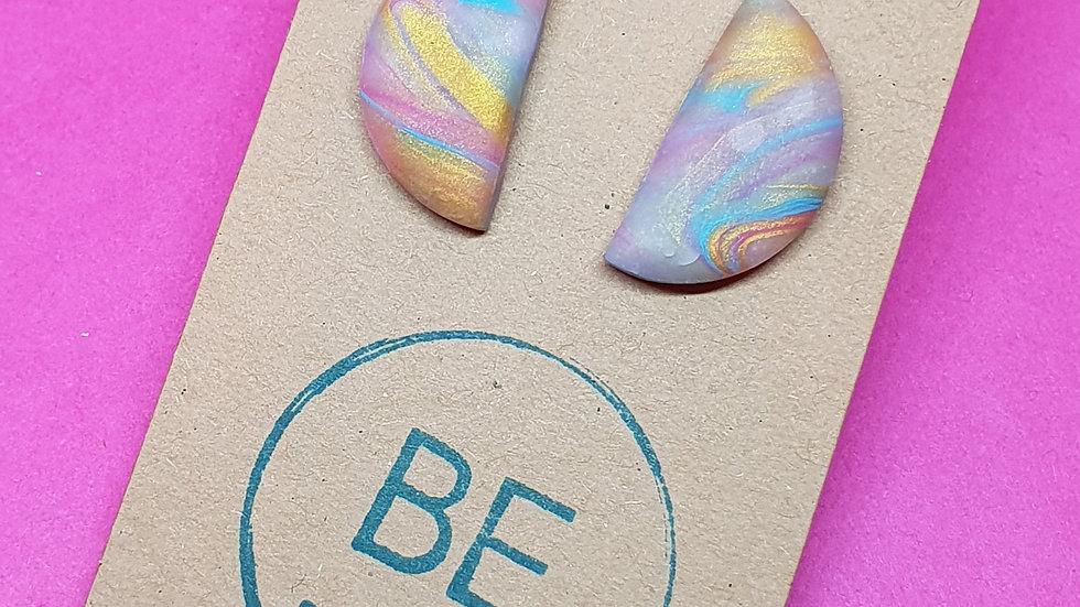 Marbled Rainbow Semi Circle Studs