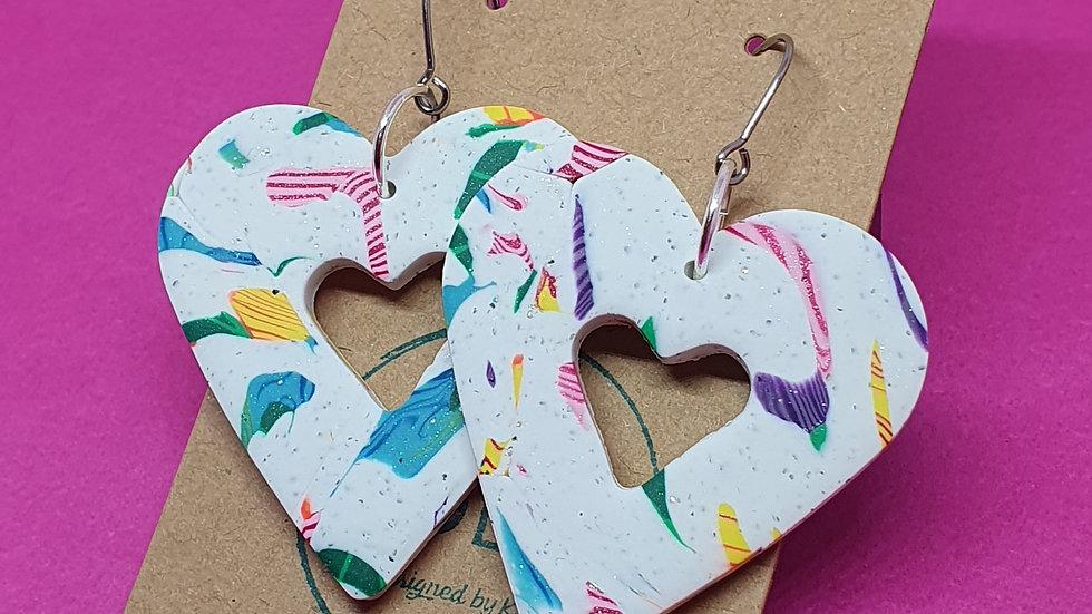 Confetti Remix Large Heart Dangles 1