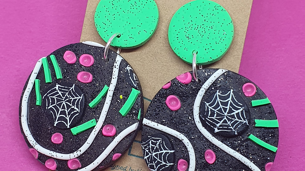 Neon Webs Large Round Dangle 2