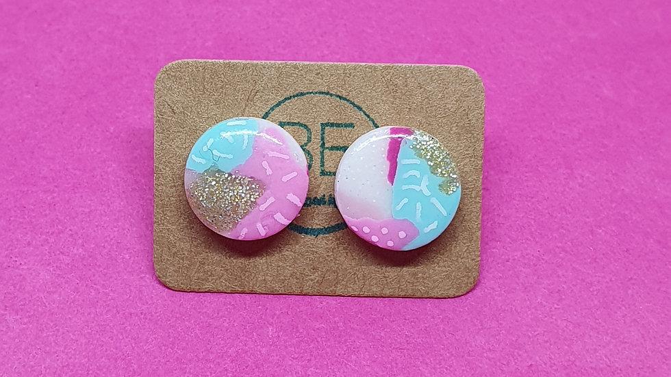 Patchwork Pink Round Studs 1