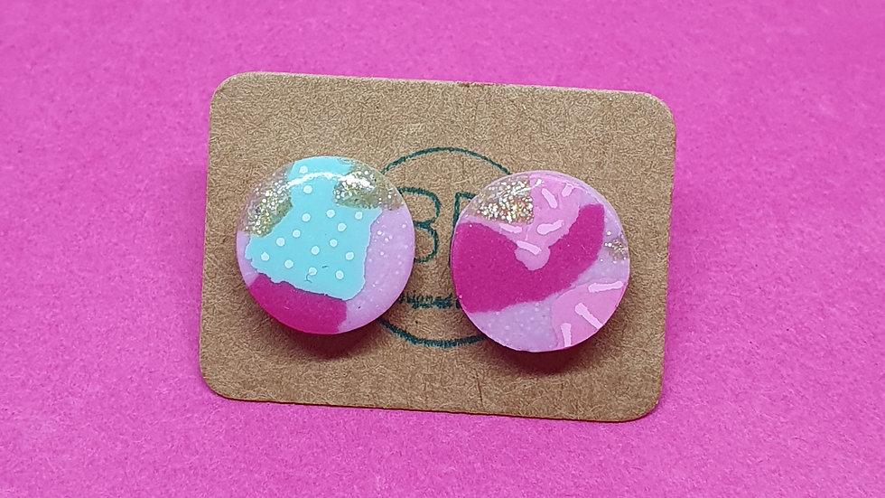 Patchwork Pink Round Studs 2