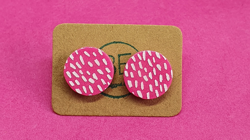 Pink Speckled Small Round Studs