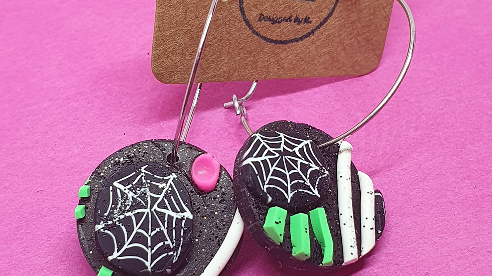 Neon Webs Small Round Dangle