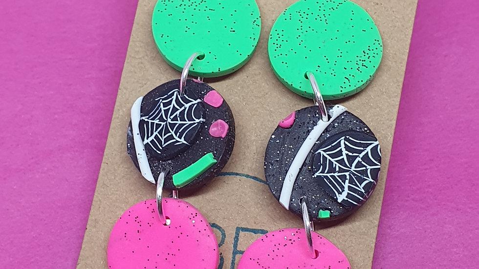 Neon Webs Triple Drop Dangle