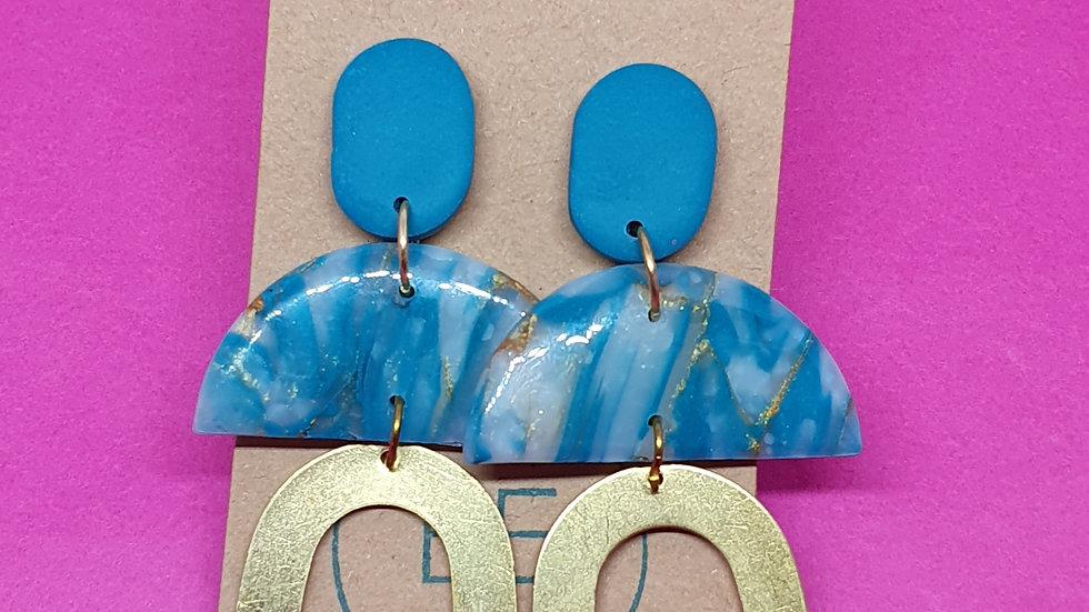 Blue Quartz Horseshoe Dangle