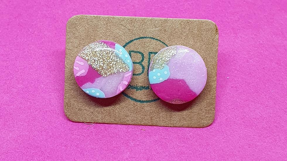 Patchwork Pink Round Studs 4