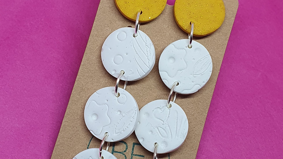 Sparkly Ochre and White Drop Dangles