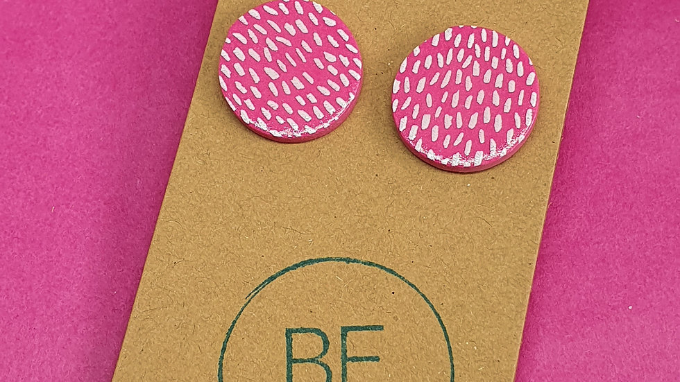 Pink Speckled Large Round Studs