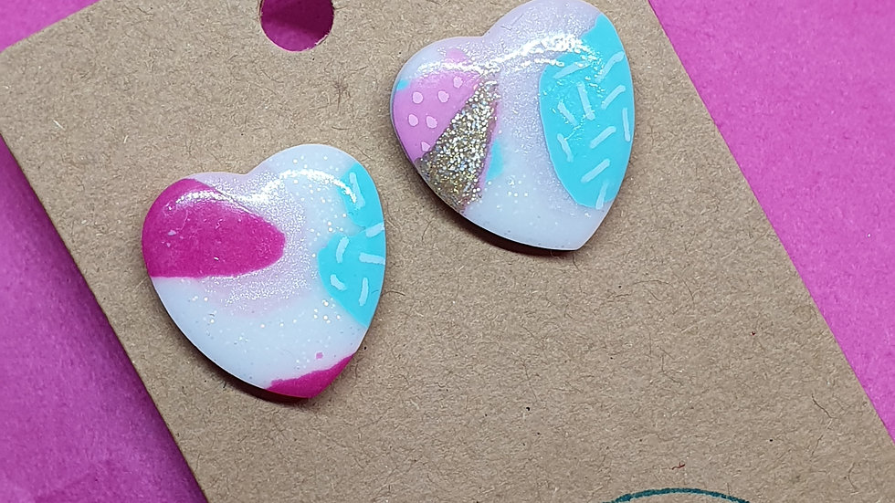 Patchwork Pink Large Heart Studs 2