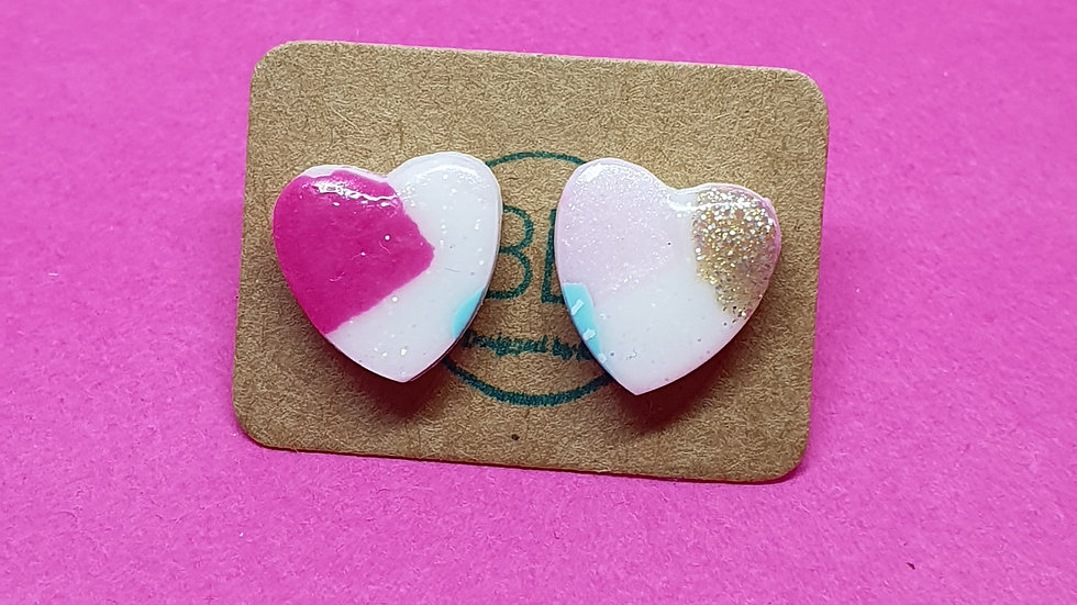 Patchwork Pink Small Heart Studs 4