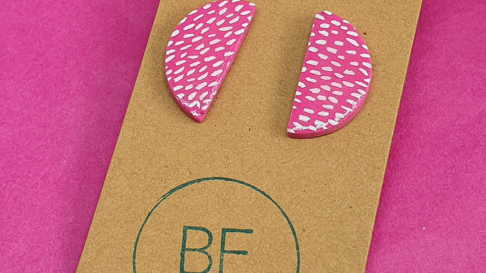 Pink Speckled Semi Circle Studs