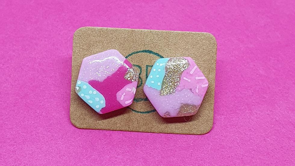 Patchwork Pink Hexagonal Studs