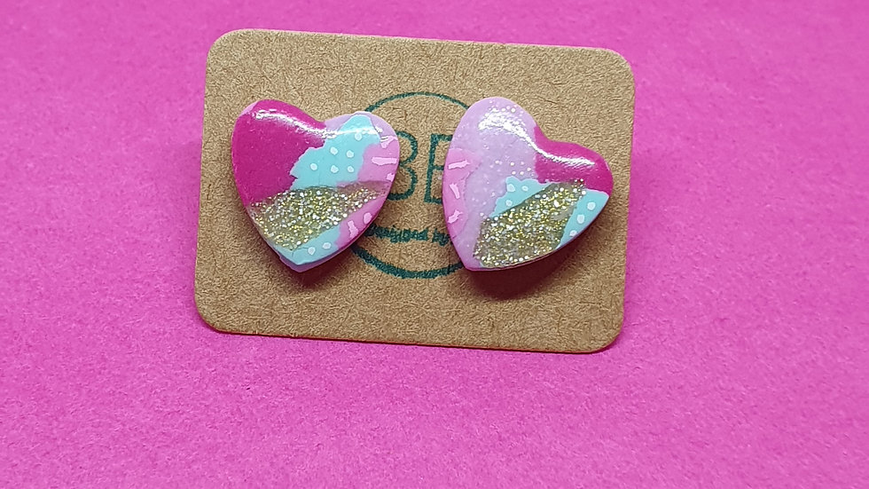 Patchwork Pink Small Heart Studs 1