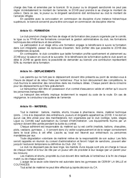 Réglement Intérieur page 5