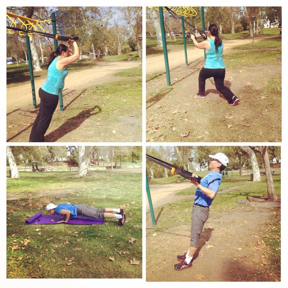 Corporate fitness class at the park
