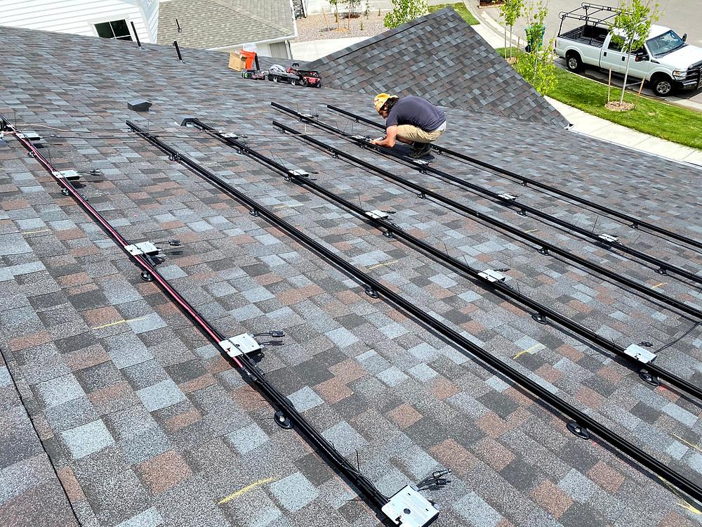 Solar energy installer, rooftop before solar panels