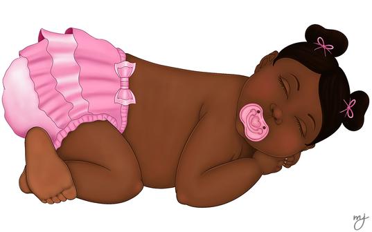 Sleeping Baby Girl in Pink Ruffled Diaper