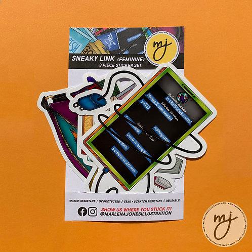 Sneaky Link (Feminine) 3pc Sticker Set