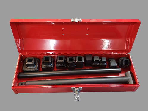 Clean out plug wrench set with RED steel box