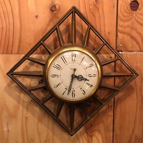 Vintage United Wall Clock Diamond Starburst Brass Model number 81