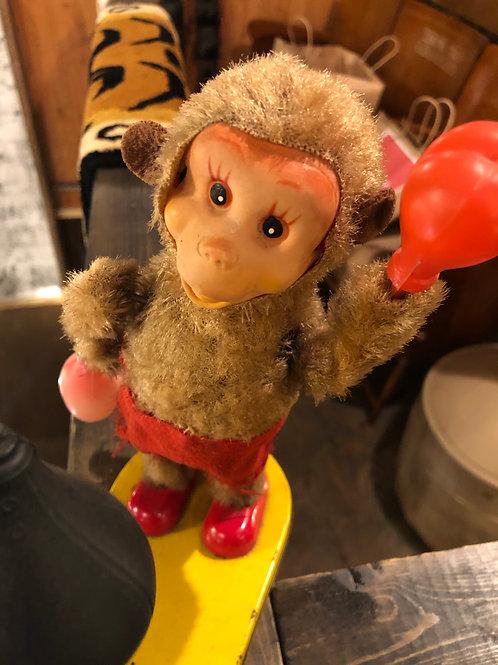 富士プレス工業所 ボクシングモンキー ブリキ製 パンチングボール ゼンマイ式人形