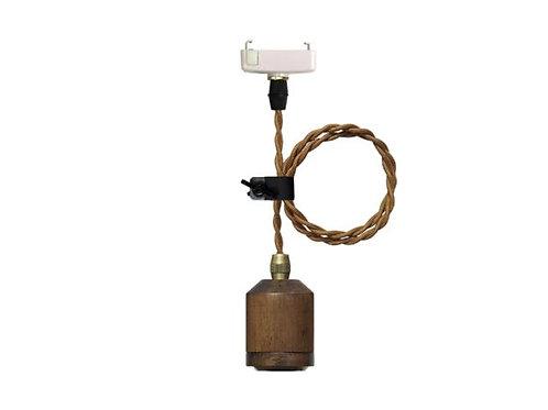 紐型E26木製ペンダント灯具 ブラウン