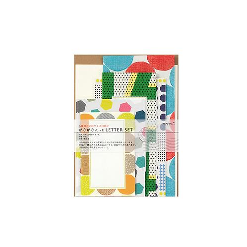 レターセット ガサガサ 5サイズ封筒 幾何学柄