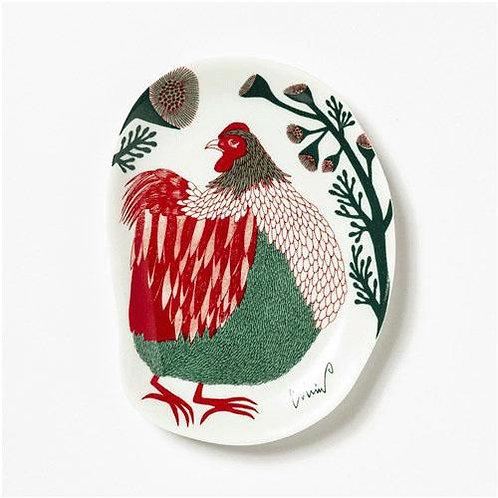 moritaMiW小皿 裏庭の草むらの鶏